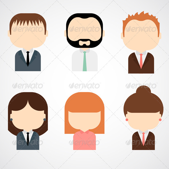 Set of Colorful Business People Icons