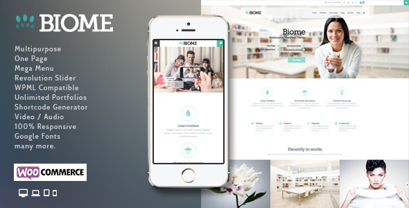 ThemeForest Biome Multipurpose One Page WordPress Theme 7720965
