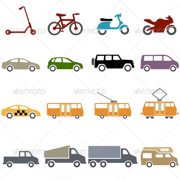 GraphicRiver Set of Color Ground Transportation Icons 7713841