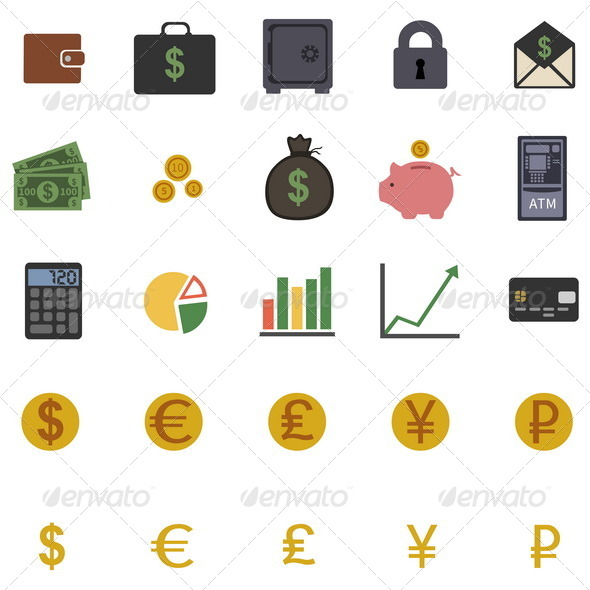 GraphicRiver Set of 25 Color Finance Icons 7713753