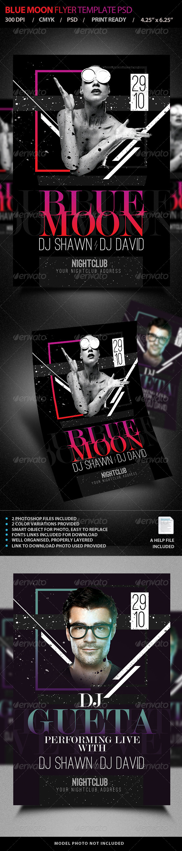 GraphicRiver Blue Moon Live DJ Flyer Template PSD V4 7721136