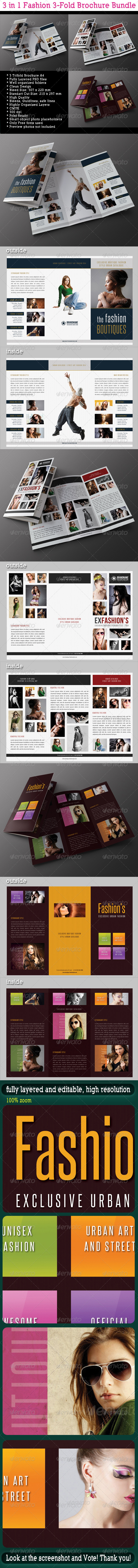 GraphicRiver 3 in 1 Fashion 3-Fold Brochure Bundle 06 7721214