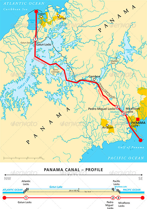 GraphicRiver Panama Canal Political Map 7662638