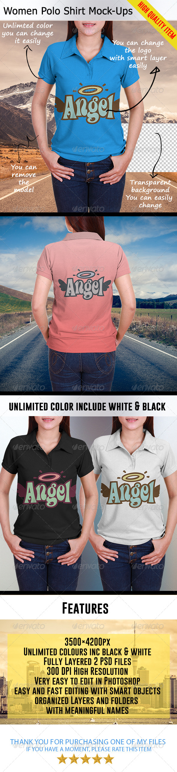 GraphicRiver Women Polo Shirt Mock-Ups 7721968