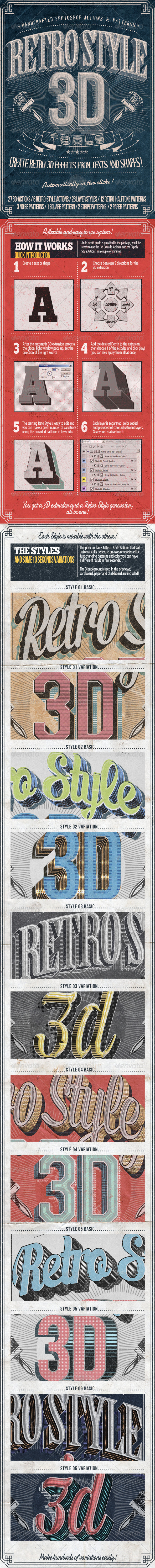 GraphicRiver Retro Style 3D Tools Photoshop Actions 7722029