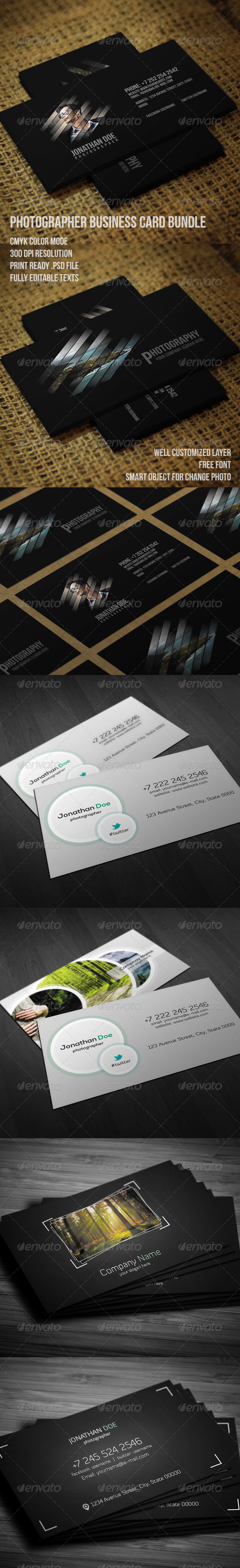 GraphicRiver Photographer Business Card Bundle 7723352