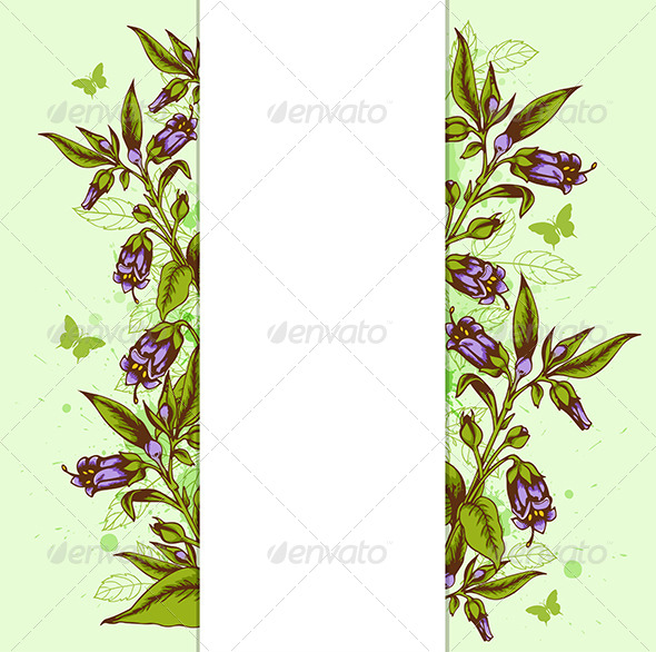 GraphicRiver Background with Bellflower and Leaves 7723672