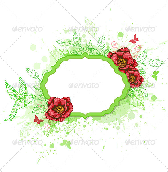 GraphicRiver Green Vector Banner with Red Peony 7723833