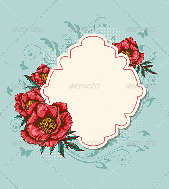 GraphicRiver Label and Red Peony 7723849