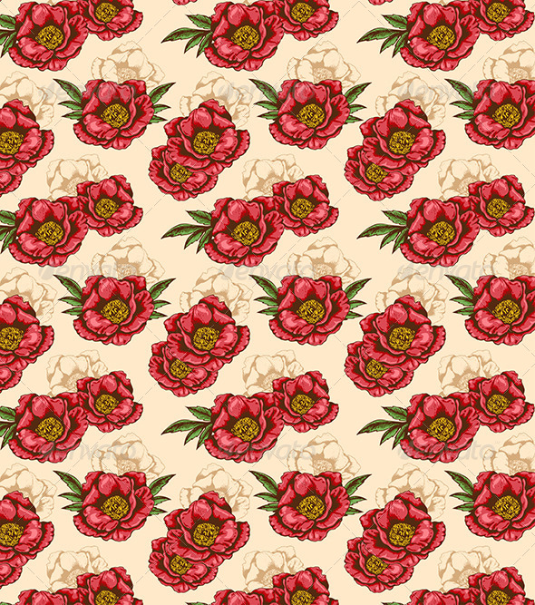 GraphicRiver Seamless Pattern with Red Peony 7724020