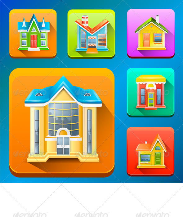 GraphicRiver Colorful Building Icons 7724081