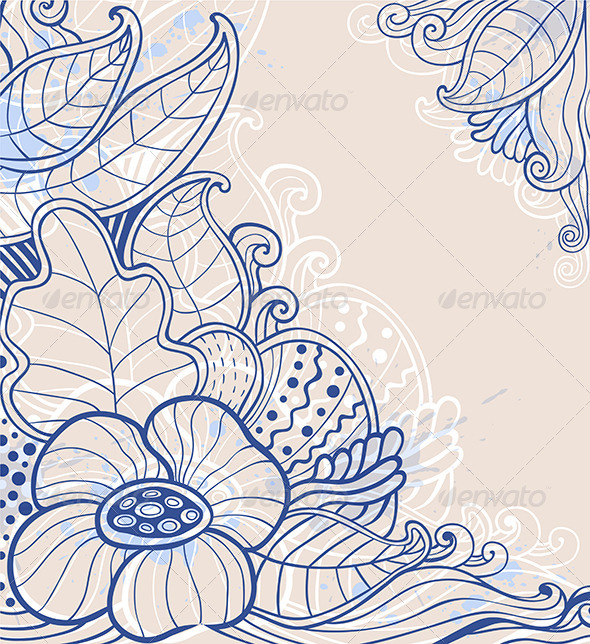 GraphicRiver Abstract Hand Drawn Floral Background 7724122