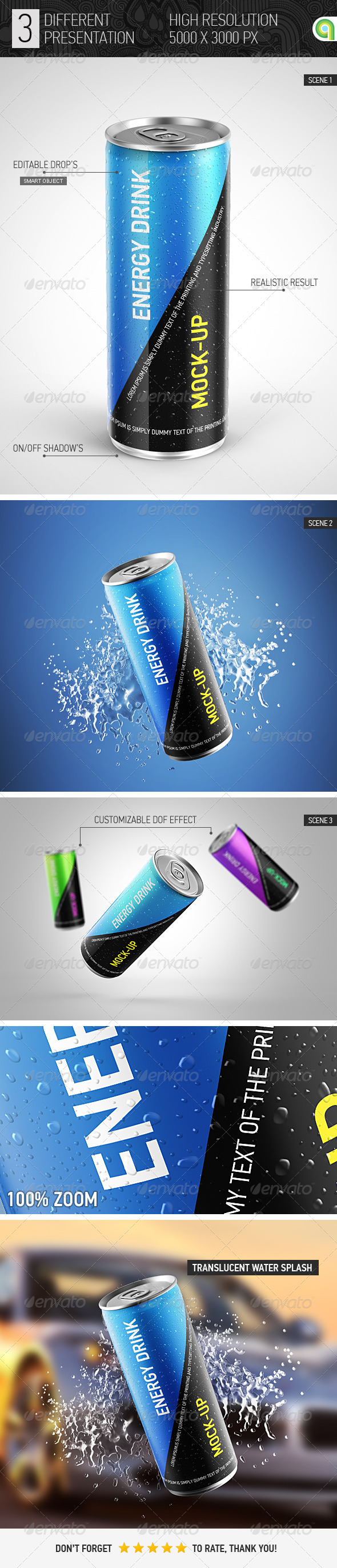 GraphicRiver Energy Drink Can Mockup 7724221
