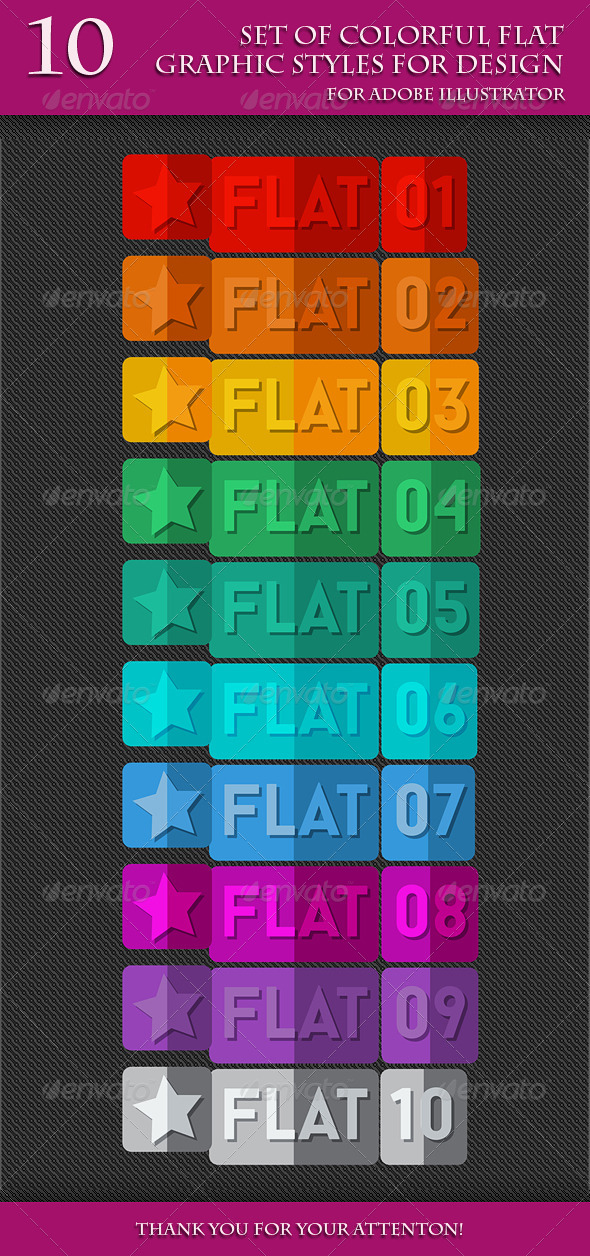 GraphicRiver Set of Colorful Flat Graphic Styles for Design 7725710