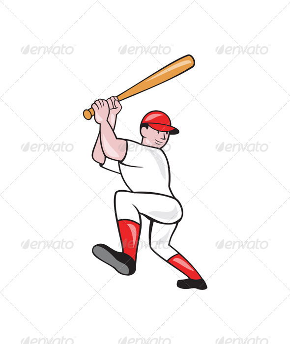 GraphicRiver Baseball Player Batting Isolated Full Cartoon 7727234