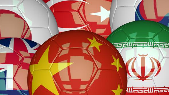 3D Soccer Ball Azia Flags