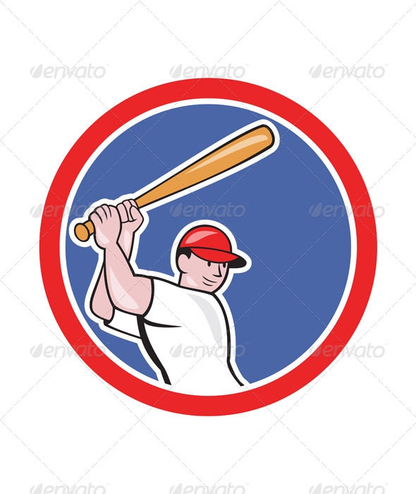 GraphicRiver Baseball Player Batting Circle Cartoon 7727241