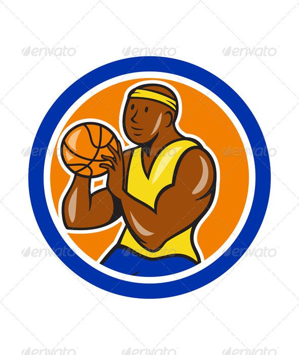 GraphicRiver African-American Basketball Player Shooting Cartoo 7727316