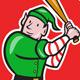 Elf Baseball Player in Circle