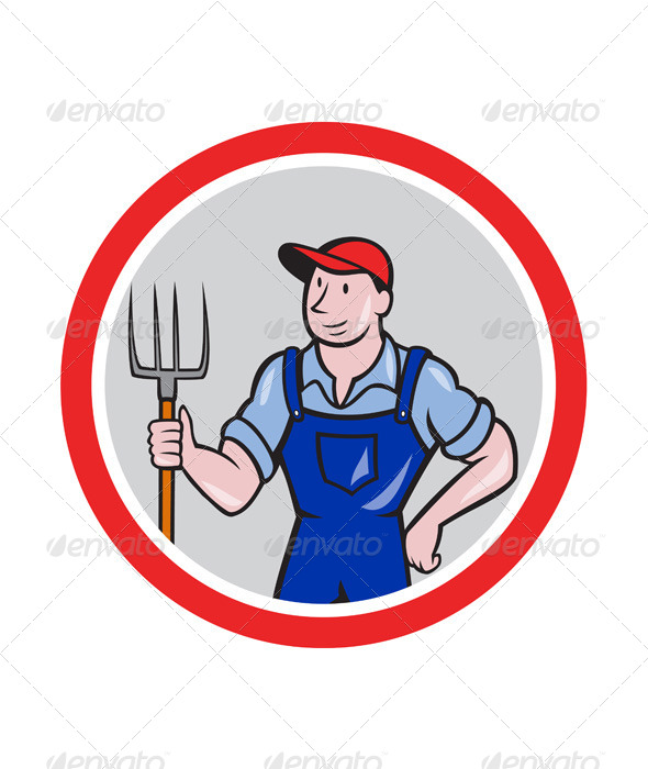 GraphicRiver Farmer Holding Pitchfork Circle Cartoon 7727334