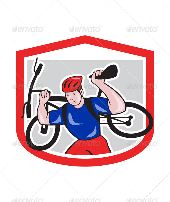 GraphicRiver Cyclist Carrying Mountain Bike on Shoulders Cartoon 7727365