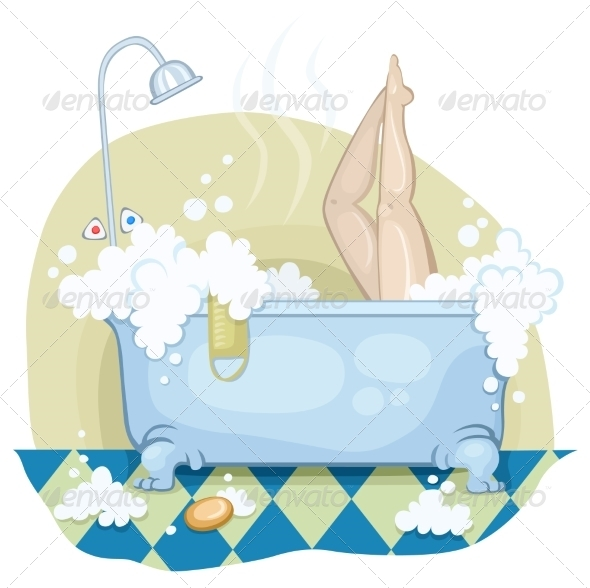 GraphicRiver Girl in the Bath with Lather 7727384