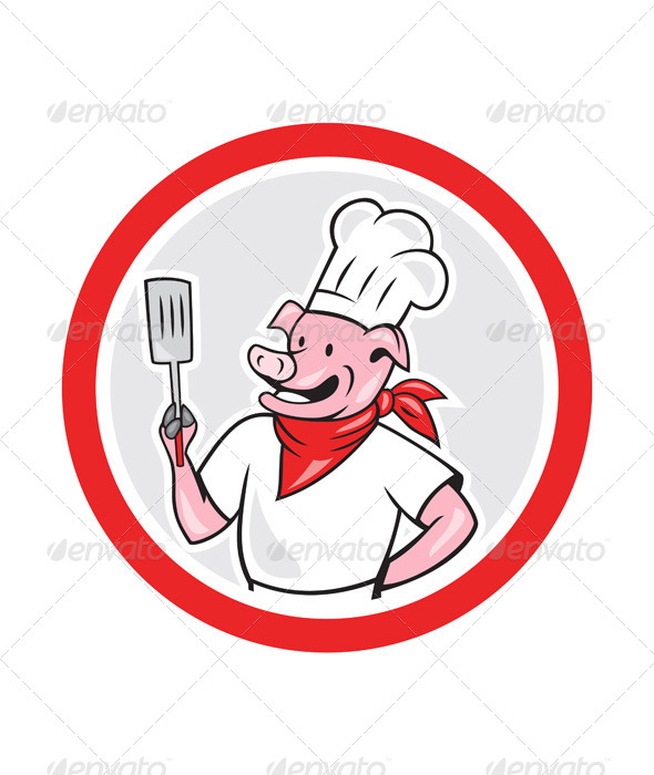 GraphicRiver Pig Chef Holding Spatula in Circle 7727547