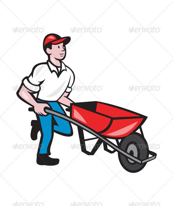 GraphicRiver Gardener Pushing Wheelbarrow Cartoon 7727706