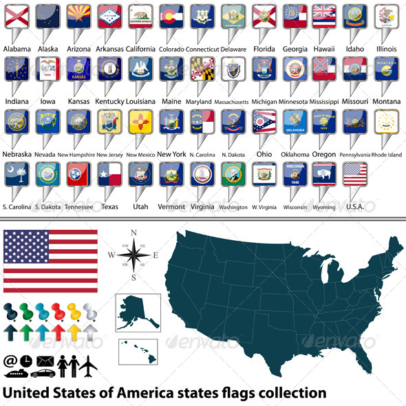 GraphicRiver USA States Flags Collection 7728331