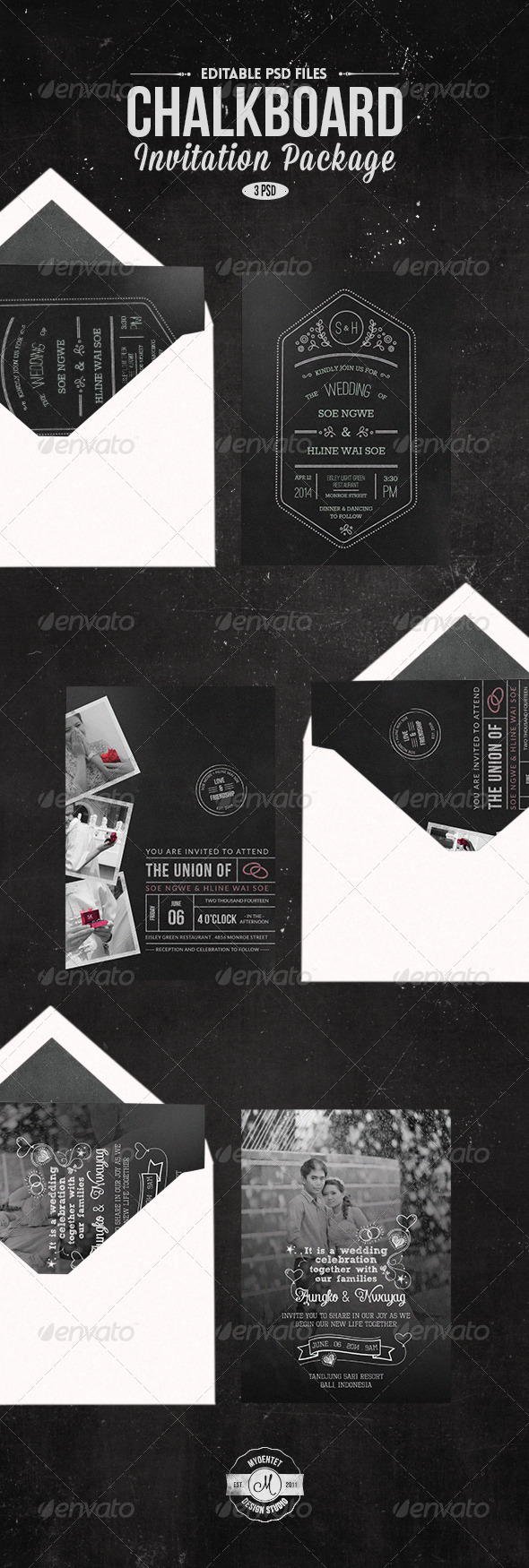 GraphicRiver Chalk Board Invitation Package 7728640