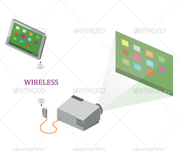 GraphicRiver Wireless Tablet and Projector 7728746