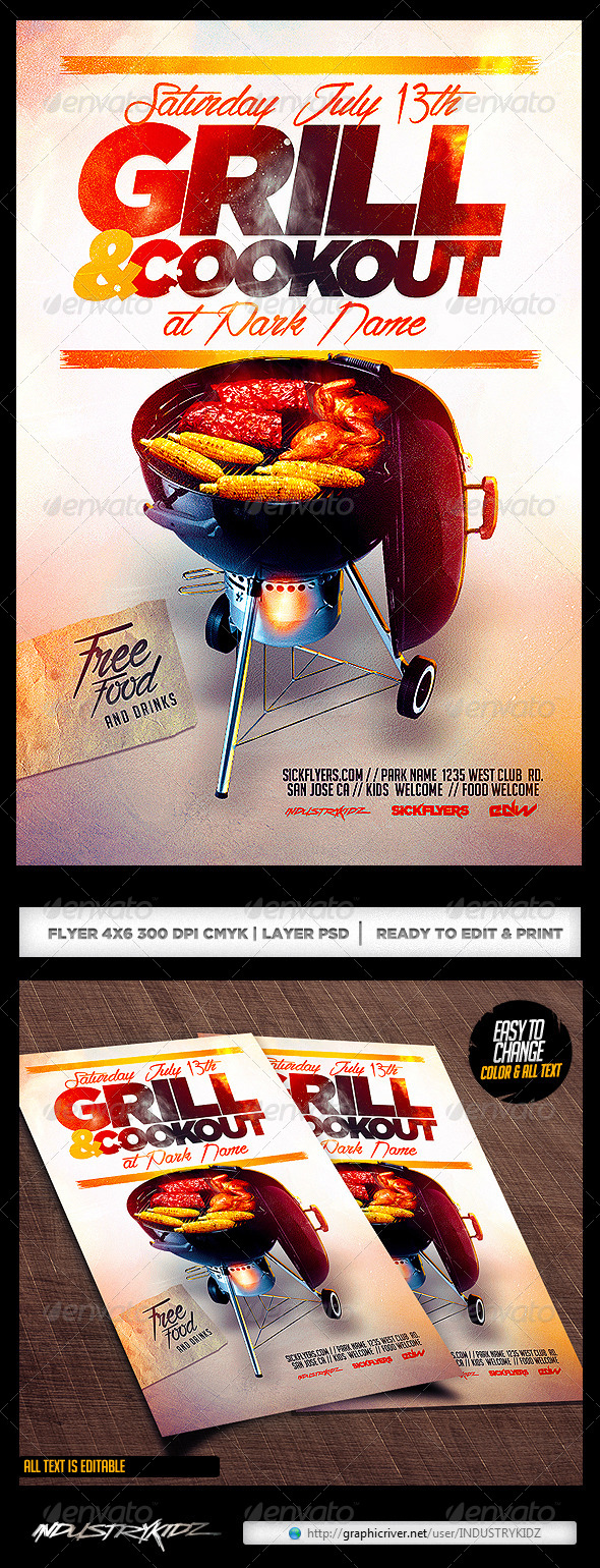 Cookout Flyer PSD - Clubs & Parties Events