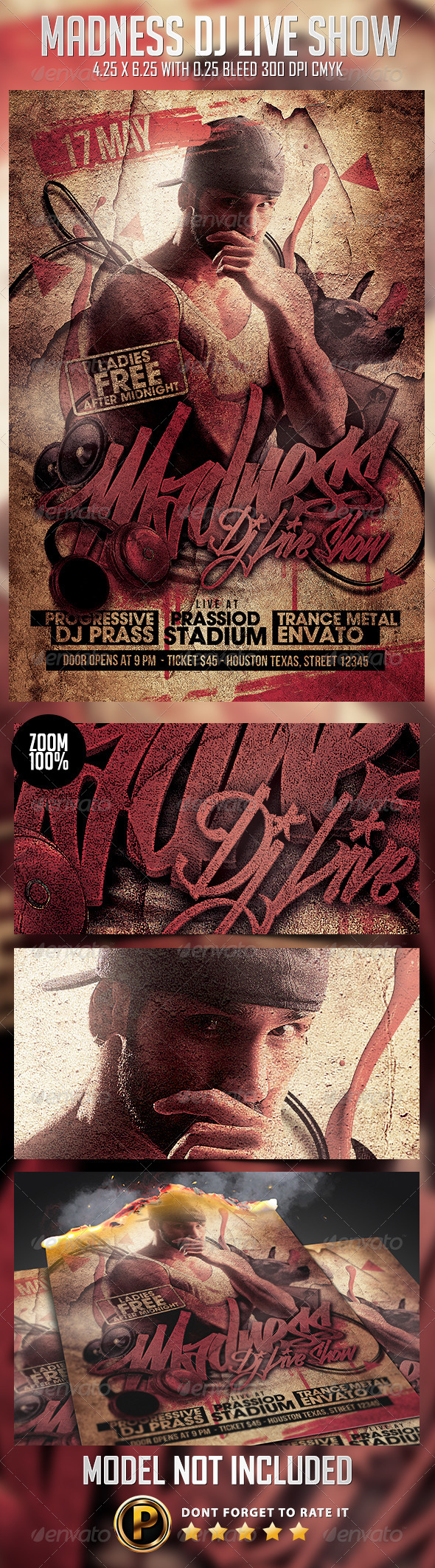 GraphicRiver Madness Dj Live Show Flyer Template 7729823
