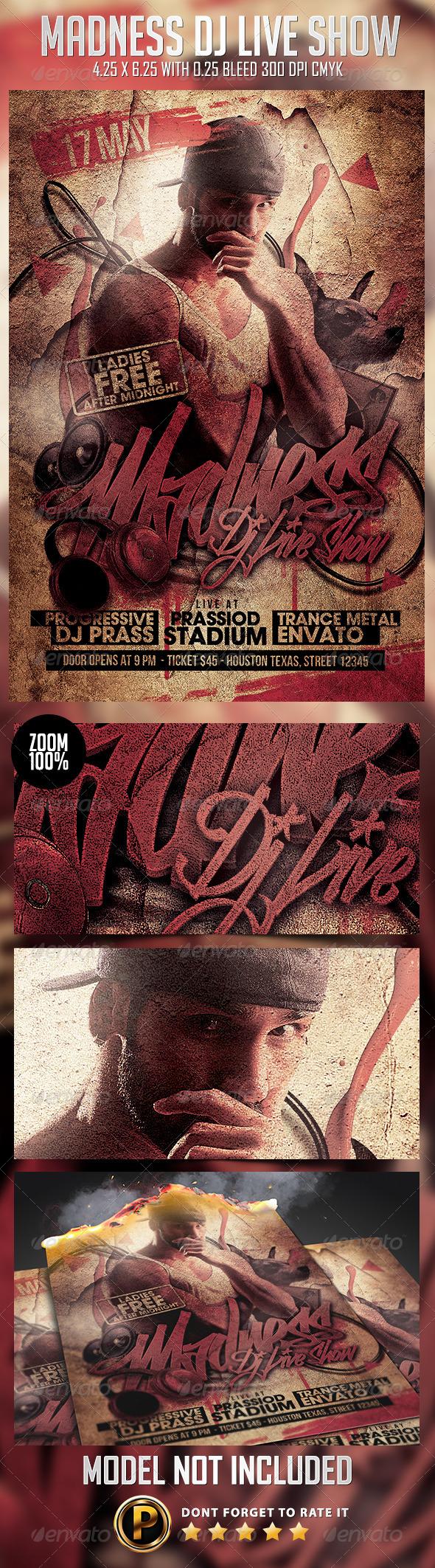 Madness Dj Live Show Flyer Template