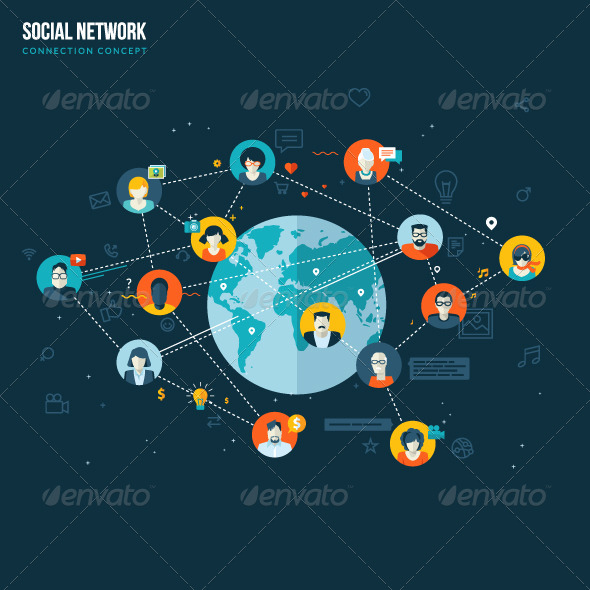 GraphicRiver Flat Design Concept for Social Network 7729838
