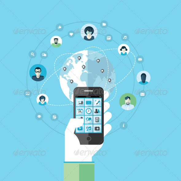 GraphicRiver Concept for Mobile Phone Services and Apps 7729843
