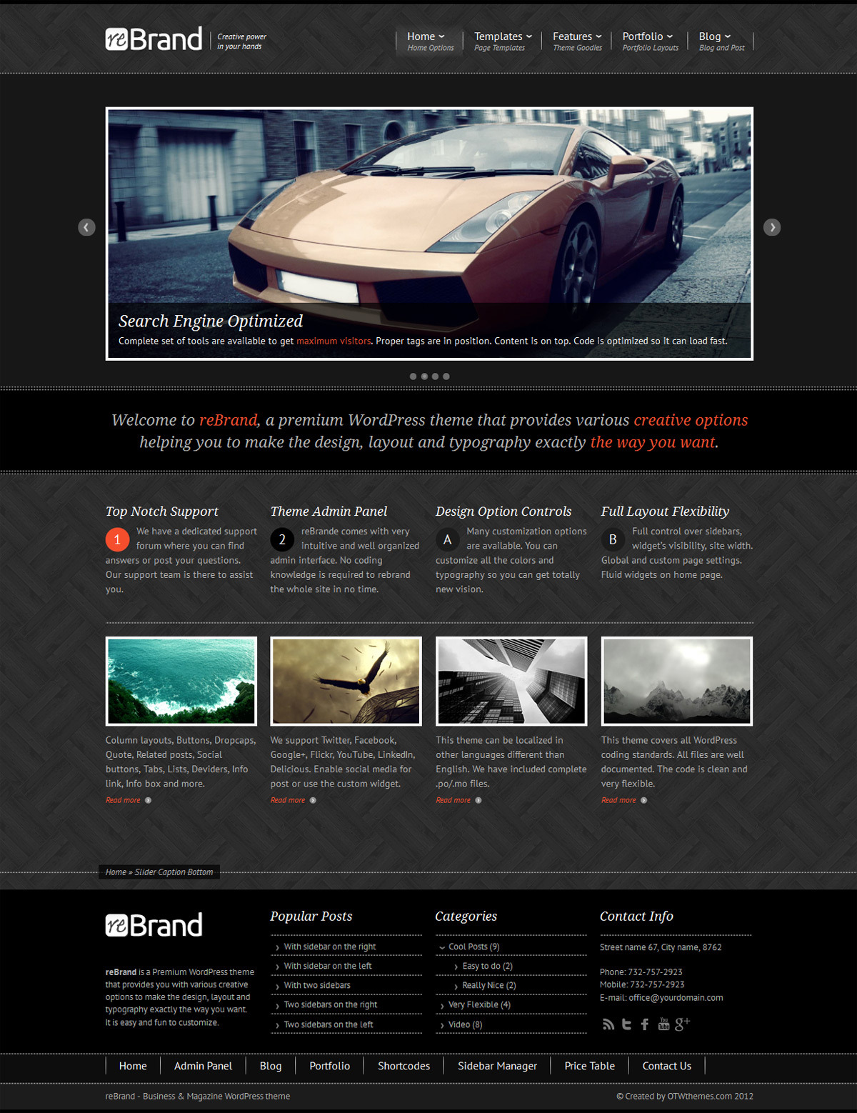 ReBrand - Business and Magazine WordPress Theme - Home page example - boxed sidebar, dark version, wood background.