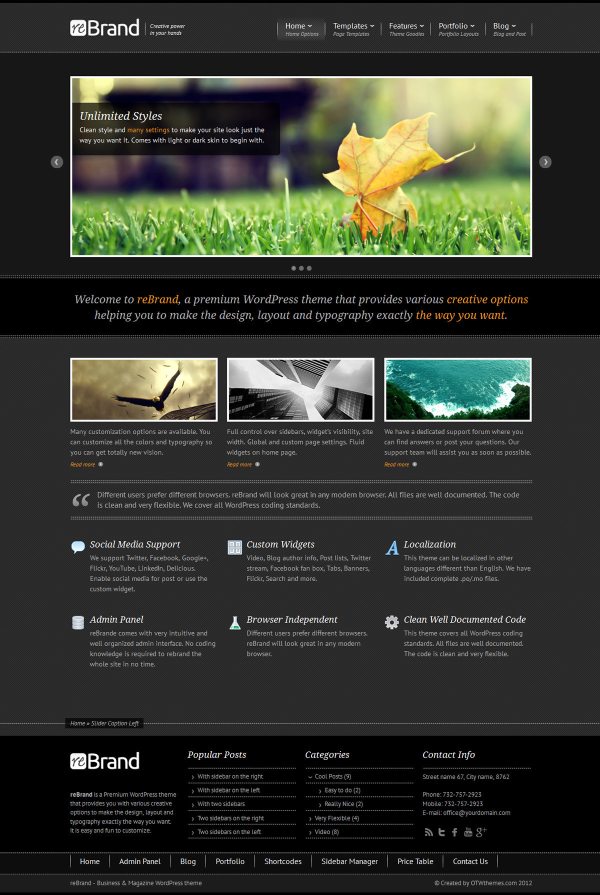 ReBrand - Business and Magazine WordPress Theme - Home page example - boxed sidebar, dark version, bricks background, orange active color.