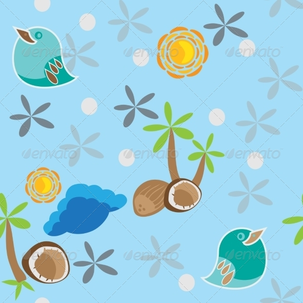 GraphicRiver Seamless Pattern with Bird Palm Tree and Coconuts 7731380