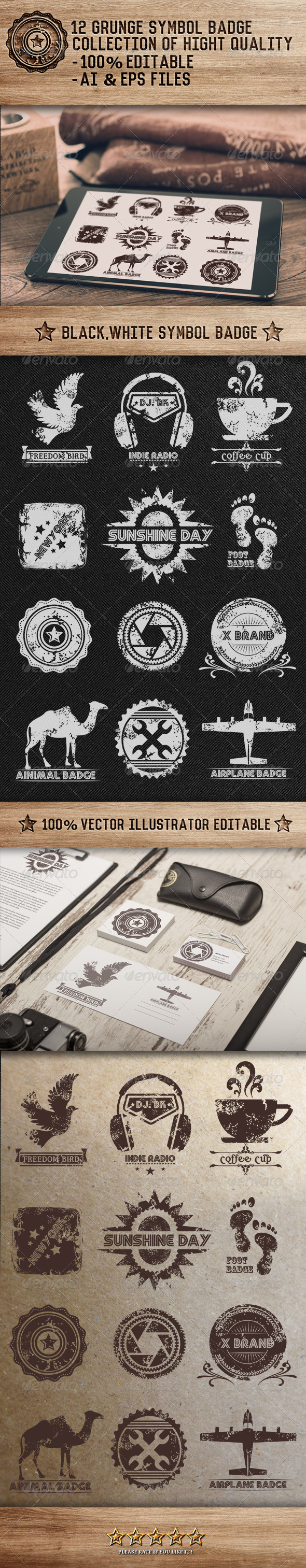 GraphicRiver 12 Grunge Symbol Badge 7731789