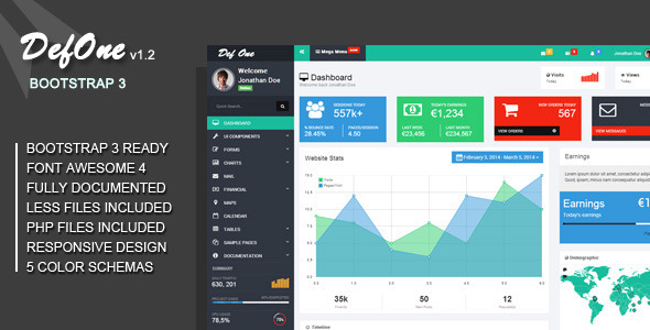 DefOne - Responsive Bootstrap 3 Admin Template - Admin Templates Site Templates