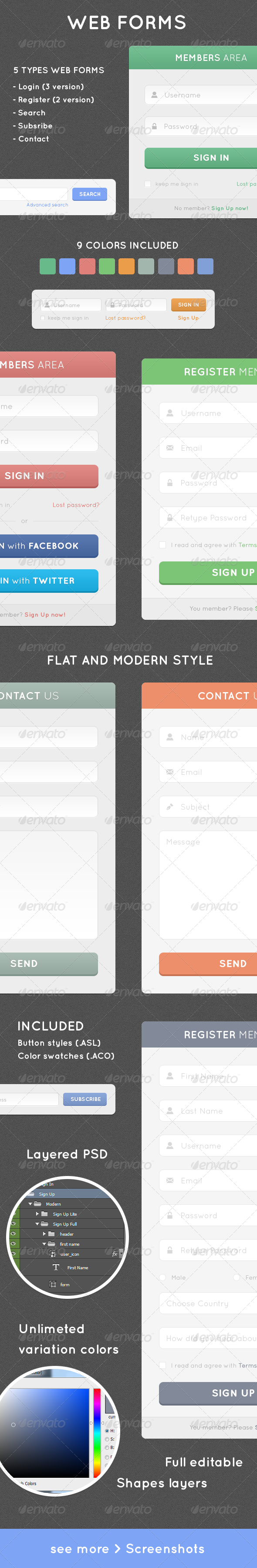 GraphicRiver Simple Web Forms Collection Flat & Gradient 7733091