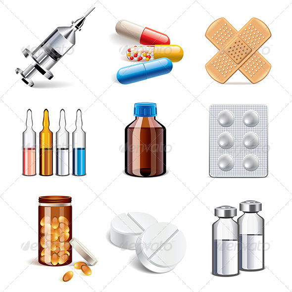 GraphicRiver Medical Drugs Icons 7733621