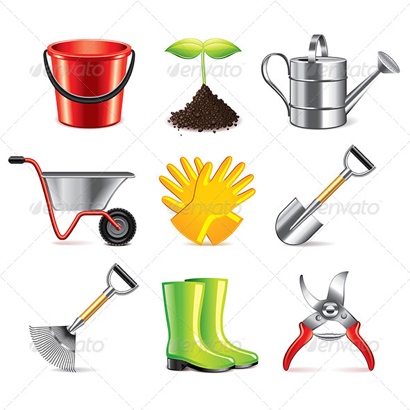 GraphicRiver Gardening Tools Icons 7733661