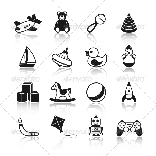 GraphicRiver Toys Black Icons Set 7734005