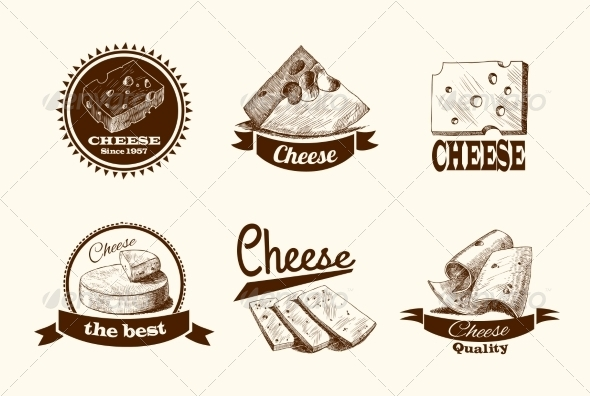 GraphicRiver Cheese Sketch Labels 7734009