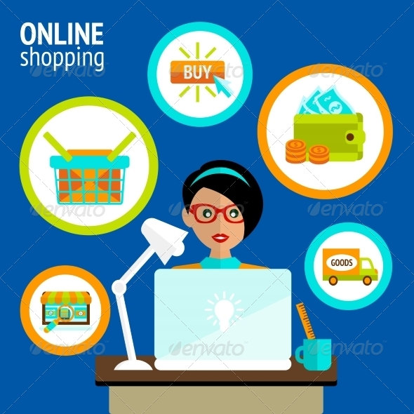 GraphicRiver Person Laptop Online Shopping Concept 7734026