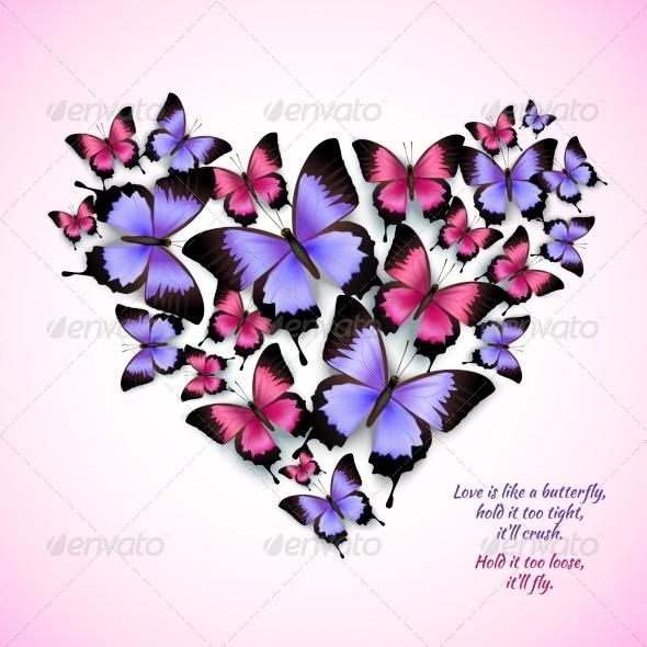 GraphicRiver Butterflies Heart Shape 7734036