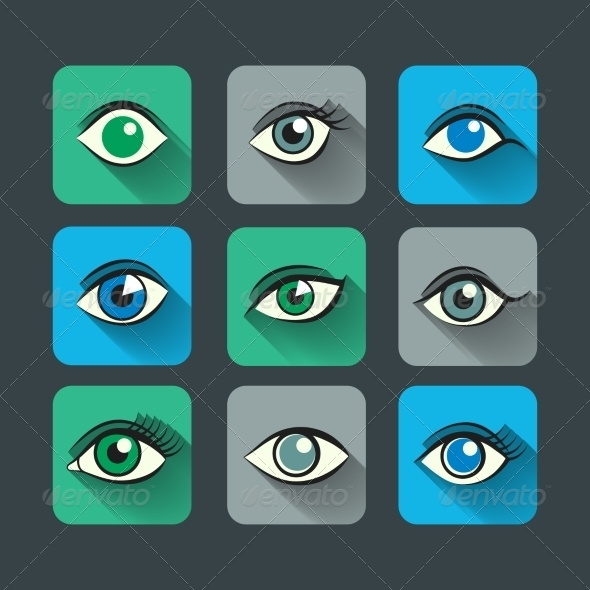 GraphicRiver Eyes Icons Flat Set 7734174