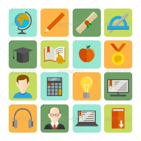 GraphicRiver E-learning Flat Icon Set 7734176